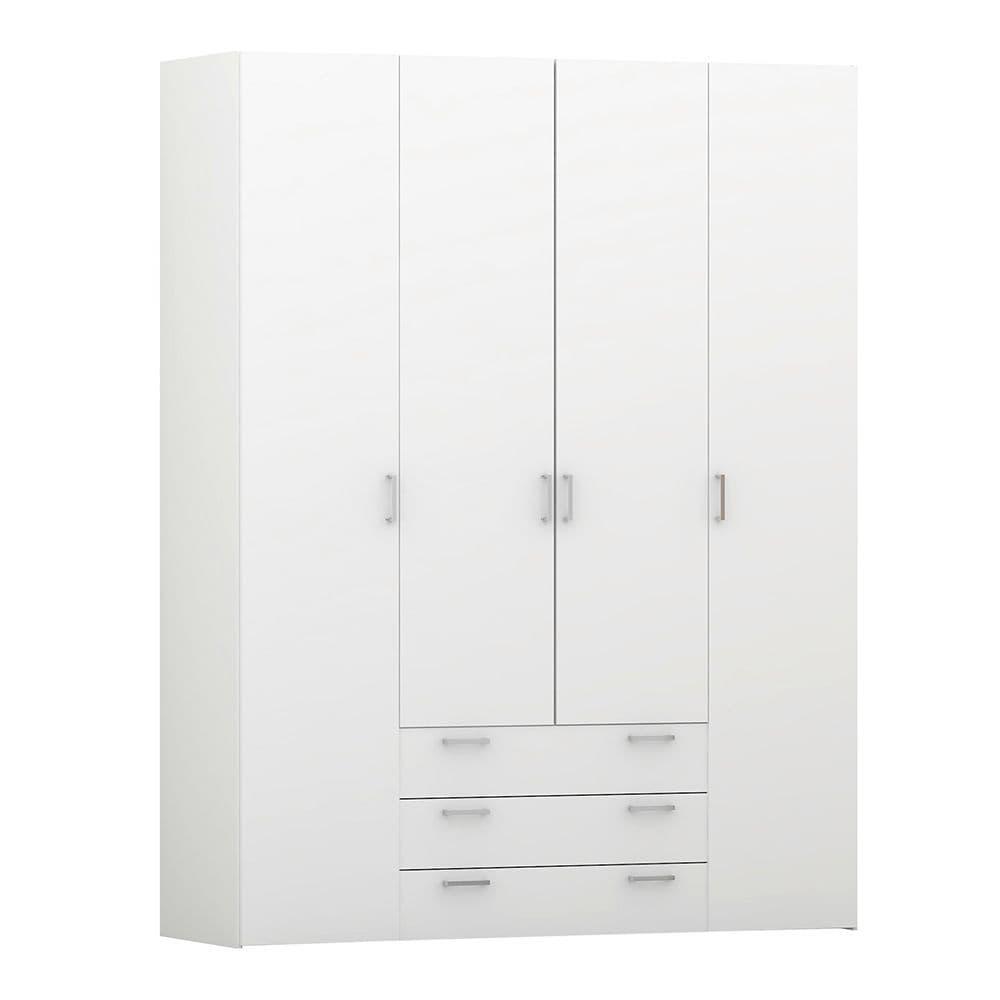 Space Wardrobe - 4 Doors 3 Drawers in White